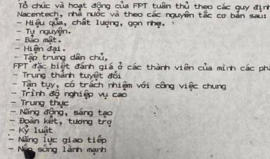 Quy chế nội bộ FPT 32 năm trước